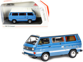 Volkswagen T3 Joker Camper Bus Light Blue White Top 1/64 Diecast Model Schuco 452022000