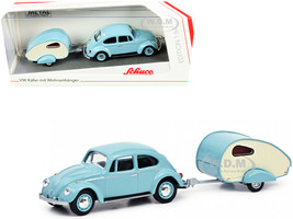 Volkswagen Kafer Light Blue ES-Piccolo Travel Trailer Light Blue Cream 1/64 Diecast Model Car Schuco 452022500