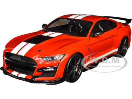 2020 Ford Mustang Shelby GT500 Red White Stripes 1/18 Diecast Model Car Solido S1805903