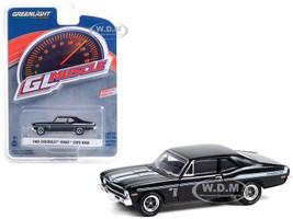 1969 Chevrolet Yenko/SC COPO Nova Tuxedo Black Light Blue Stripes Greenlight Muscle Series 24 1/64 Diecast Model Car Greenlight 13290 A