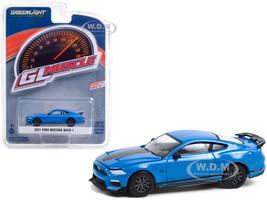 2021 Ford Mustang Mach 1 Velocity Blue Metallic Black Stripes Greenlight Muscle Series 24 1/64 Diecast Model Car Greenlight 13290 F