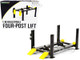Adjustable Four Post Lift Dark Gray Yellow Ramps 1/18 Scale Diecast Model Cars Greenlight 13591