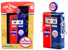 1954 Tokheim 350 Twin Gas Pump Chevron Supreme Red Blue Vintage Gas Pumps Series 9 1/18 Diecast Model Greenlight 14090 C