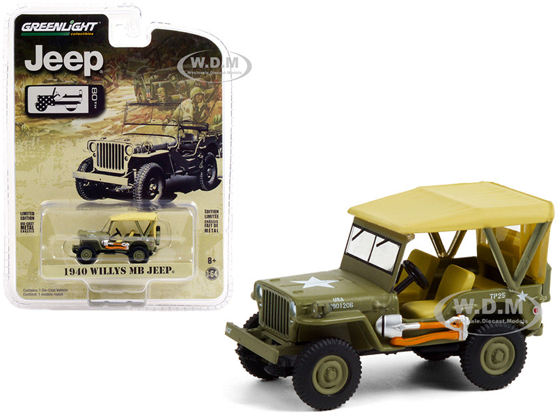 1940 Willys MB Jeep Accessories Military Green Tan Top Jeep 80th Anniversary Anniversary Collection Series 12 1/64 Diecast Model Car Greenlight 28060 A