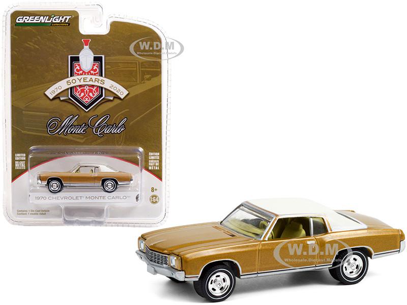 1970 Chevrolet Monte Carlo Gold White Top 50th Anniversary Monte Carlo 1970 2020 Anniversary Collection Series 12 1/64 Diecast Model Car Greenlight 28060 B