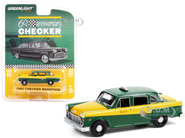 1960 Checker Marathon Taxi Green Yellow Checker 60th Anniversary Anniversary Collection Series 12 1/64 Diecast Model Car Greenlight 28060 C