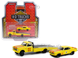 1967 Chevrolet C-30 Ramp Truck 1969 Chevrolet Camaro #28 Shell Oil Yellow Red Stripes HD Trucks Series 20 1/64 Diecast Model Cars Greenlight 33200 A