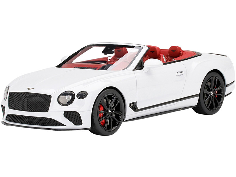 Bentley Continental GT Convertible Ice White Red Interior 1/18 Model Car Top Speed TS0291