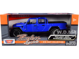 2021 Jeep Gladiator Rubicon Open Top Pickup Truck Blue 1/24 1/27 Diecast Model Car Motormax 79370