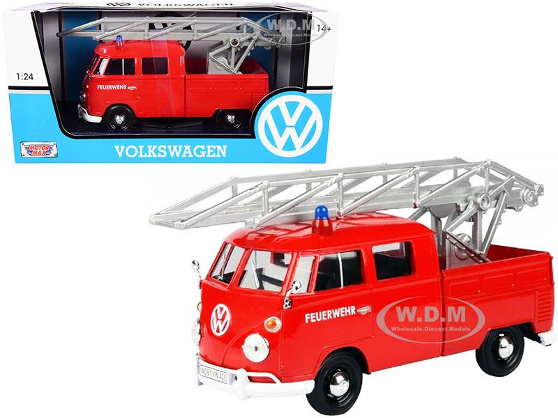 Volkswagen Type 2 T1 Fire Truck Aerial Ladder Feuerwehr Red 1/24 Diecast Model Car Motormax 79584