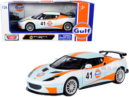 Lotus Evora GT4 #41 Gulf Oil Light Blue White Orange Stripes 1/24 Diecast Model Car Motormax 79660