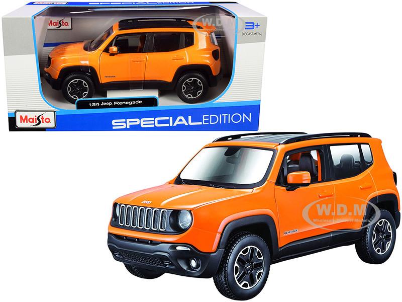 Jeep Renegade Orange Metallic Black Top Special Edition 1/24 Diecast Model Car Maisto 31282