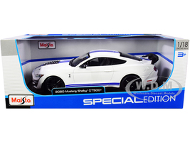 2020 Ford Mustang Shelby GT500 White Blue Stripes Special Edition 1/18 Diecast Model Car Maisto 31452
