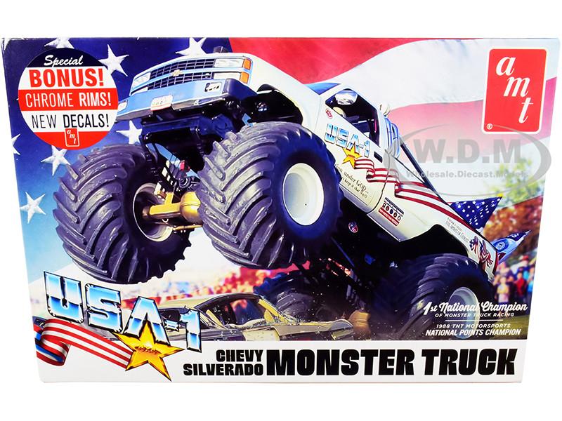 Skill 2 Model Kit Chevrolet Silverado USA-1 Monster Truck 1/25 Scale Model AMT AMT1252
