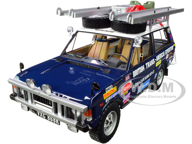 Land Rover Range Rover Dark Blue Roof Rack Accessories The British Trans-Americas Expedition Edition 1971 1972 868K 1/18 Diecast Model Car Almost Real 810108