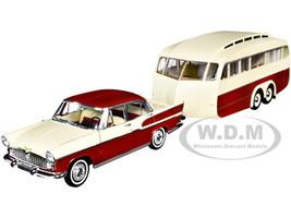 1958 Simca Vedette Chambord Caravane Henon Travel Trailer Cardinal Red Ivory Set 2 pieces 1/18 Diecast Model Car Norev 185728