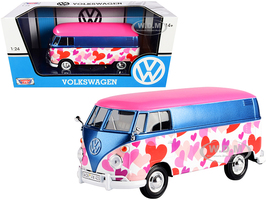 Volkswagen Type 2 T1 Delivery Van Love Pink Blue Metallic 1/24 Diecast Model Car Motormax 79581