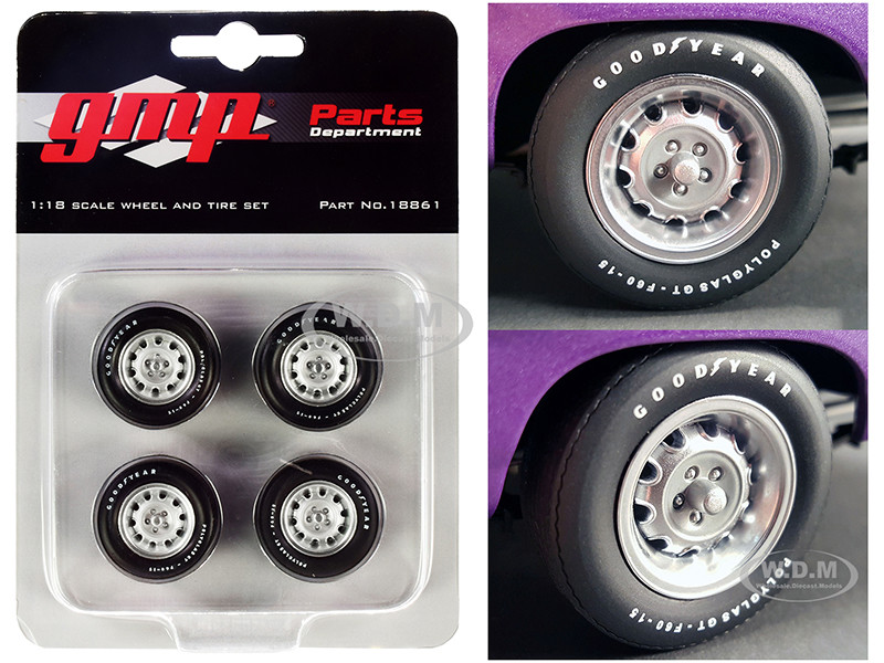 Muscle Car Rally Wheels Tires Set of 4 pieces 1970 Dodge Coronet Super Bee 1/18 GMP 18861
