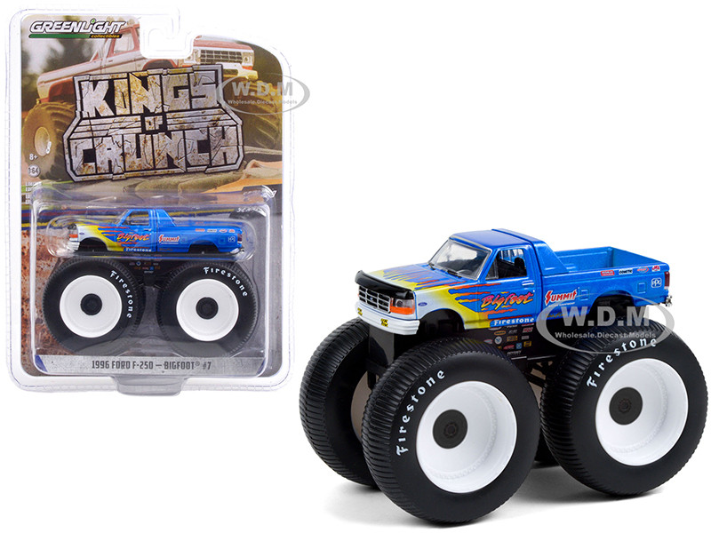 1996 Ford F-250 Monster Truck Bigfoot #7 Blue Flames Bigfoot at Race Rock Kings of Crunch Series 9 1/64 Diecast Model Car Greenlight 49090 A