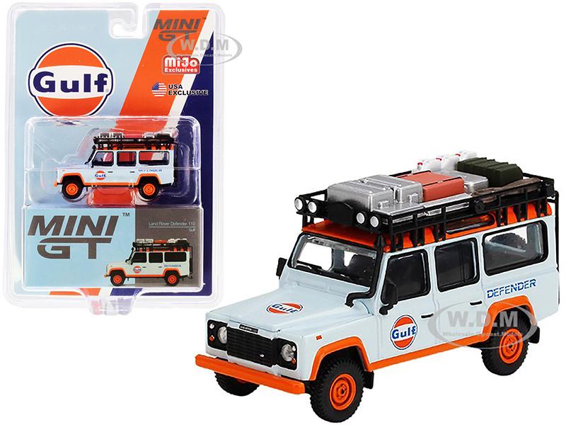 Land Rover Defender 110 Roof Rack Accessories Gulf Oil Light Blue Orange 1/64 Diecast Model Car True Scale Miniatures MGT00156