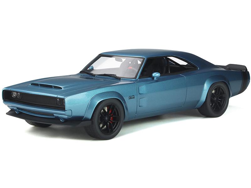 1968 Dodge Super Charger Sema Concept Mopar Blue Metallic Black Tail Stripes 1/18 Model Car GT Spirit GT841
