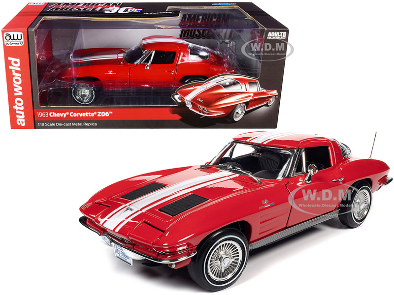 1963 Chevrolet Corvette Stingray Z06 Riverside Red White Stripes American Muscle 30th Anniversary 1/18 Diecast Model Car Autoworld AMM1263