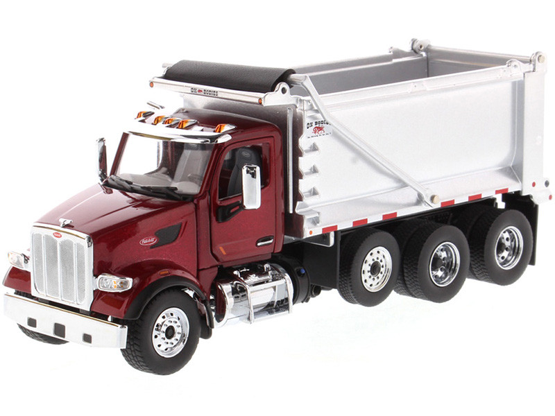 Peterbilt 567 SFFA Tandem Axle Pusher Axle OX Stampede Dump Truck Red and Chrome Transport Series 1/50 Diecast Model Diecast Masters 71077