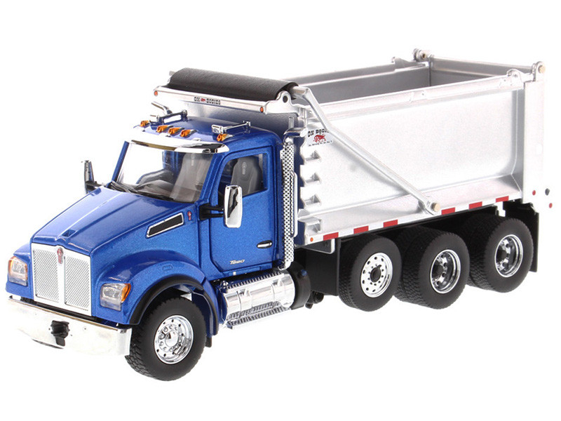 Kenworth T880S SFFA Tandem Axle Pusher Axle OX Stampede Dump Truck Blue and Chrome Transport Series 1/50 Diecast Model Diecast Masters 71078