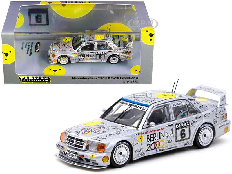 Mercedes Benz 190E 2.5-16 Evolution II #6 Keke Rosberg Deutsche Tourenwagen Meisterschaft DTM 1992 1/64 Diecast Model Car Tarmac Works T64-024-92DTM06