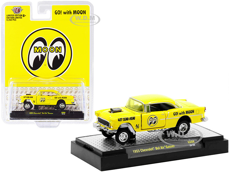 1955 Chevrolet Bel Air Gasser Bright Yellow Mooneyes Limited Edition 8250 pieces Worldwide 1/64 Diecast Model Car M2 Machines 31600-GS08