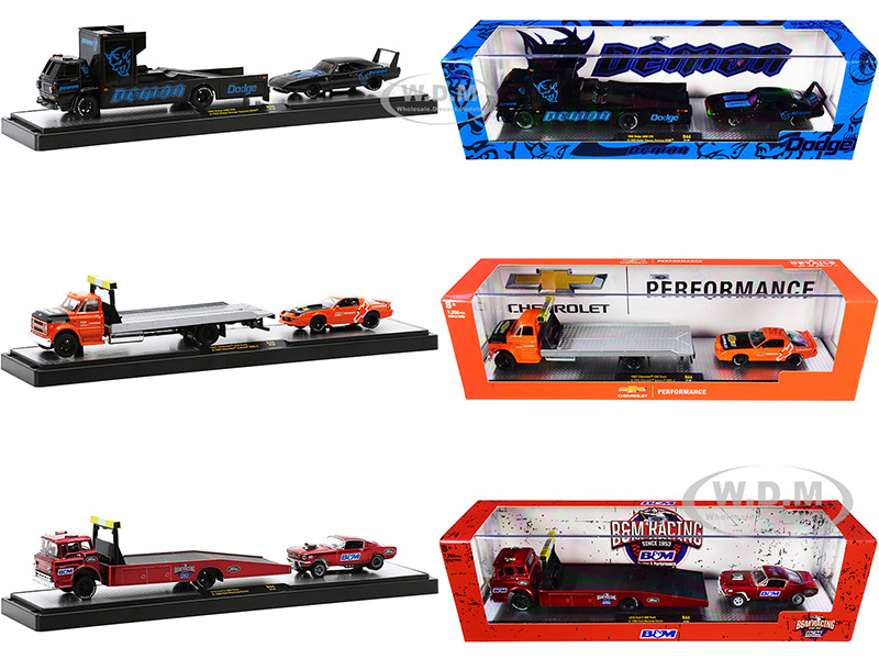 Auto Haulers Set of 3 Trucks Release 44 Limited Edition 7250 pieces Worldwide 1/64 Diecast Models M2 Machines 36000-44