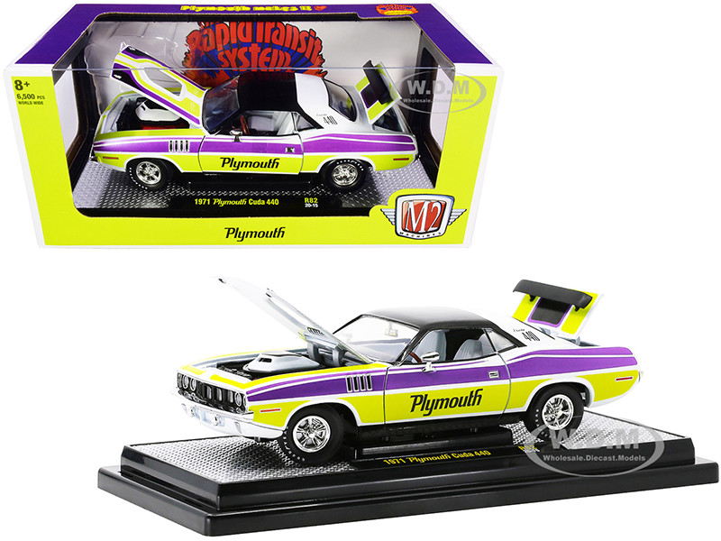 1971 Plymouth Barracuda 440 Pearl White Black Curious Yellow Violet-Metallic Stripes Limited Edition 6500 pieces Worldwide 1/24 Diecast Model Car M2 Machines 40300-82 A