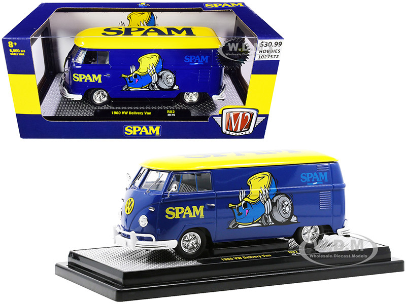 1960 Volkswagen Delivery Van Spam Blue Yellow Top Limited Edition 6500 pieces Worldwide 1/24 Diecast Model M2 Machines 40300-82 B