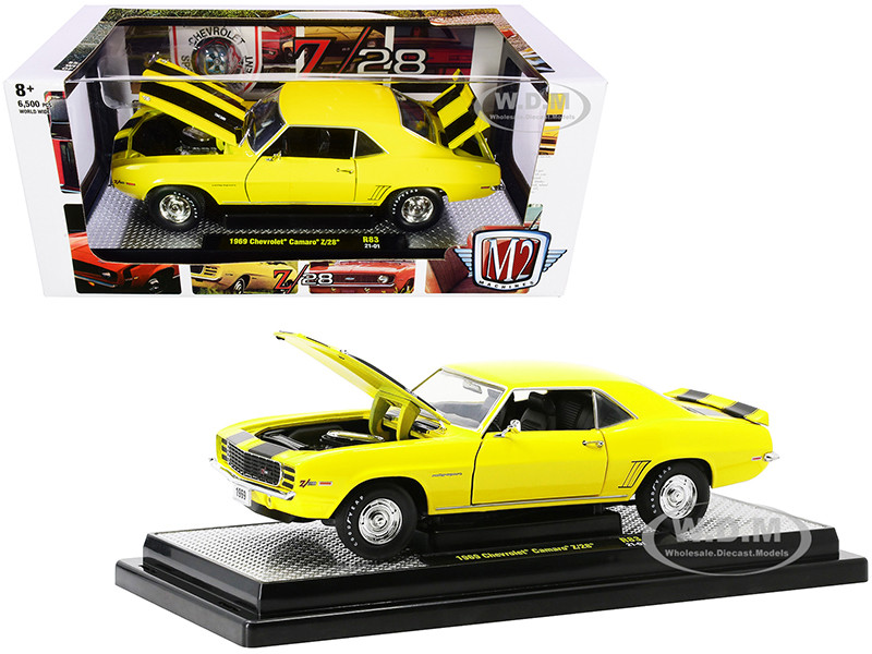 1969 Chevrolet Camaro Z/28 Daytona Yellow Black Stripes Limited Edition 6500 pieces Worldwide 1/24 Diecast Model Car M2 Machines 40300-83 A