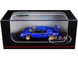 Lamborghini Countach LP500S Blue Gold Stripes 1/64 Diecast Model Car Kyosho KS06930A2