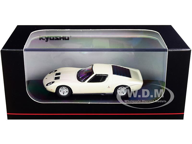 Lamborghini Miura P400 Pearl White Silver Bottom 1/64 Diecast Model Car Kyosho KS06930A3