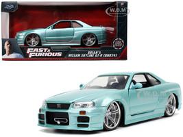 Brian's Nissan Skyline GT-R BNR34 RHD Right Hand Drive Turquoise Metallic Fast & Furious Movie 1/24 Diecast Model Car Jada 32608