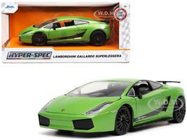Lamborghini Gallardo Superleggera Green Metallic Black Stripes Hyper-Spec Series 1/24 Diecast Model Car Jada 32717