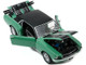 1967 Ford Mustang Coupe Loveland Green Metallic Black Stripes Black Top Pair of Skis Ski Country Special 1/18 Diecast Model Car Greenlight 13575