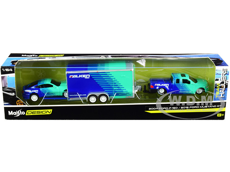 2004 Ford F-150 Pickup Truck 2015 Ford Mustang GT Enclosed Car Trailer Falken Tires Team Haulers Series 1/64 Diecast Model Cars Maisto 11404-20 C