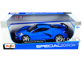 2020 Chevrolet Corvette Stingray C8 Coupe High Wing Blue Black Stripes 1/18 Diecast Model Car Maisto 31455