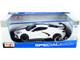 2020 Chevrolet Corvette Stingray C8 Coupe High Wing White Black Stripes 1/18 Diecast Model Car Maisto 31455