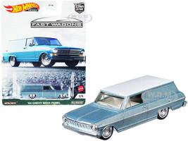 1964 Chevrolet Nova Panel Light Blue Metallic White Top Fast Wagons Series Diecast Model Car Hot Wheels GRJ66
