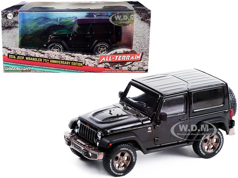 2016 Jeep Wrangler Black 75th Anniversary Edition All-Terrain Series 1/43 Diecast Model Car Greenlight 86187