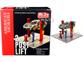 Two Post Lift Red Mechanic Figurine Oil Drainer Diorama Set 1/64 Scale Models American Diorama 38375
