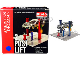 Two Post Lift Blue Mechanic Figurine Oil Drainer Diorama Set 1/64 Scale Models American Diorama 38376