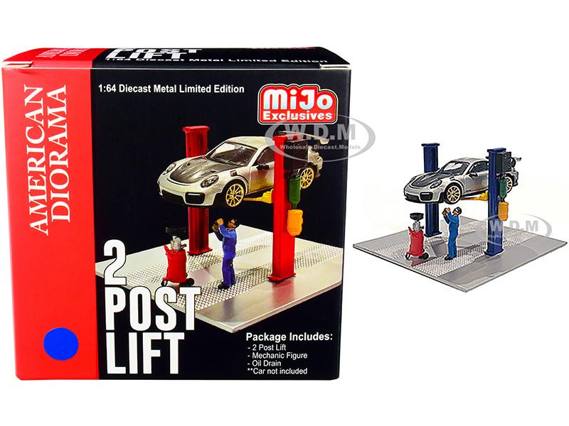 Two Post Lift Blue Mechanic Figurine Oil Drainer Diorama Set 1/64 Scale Models American Diorama 38376