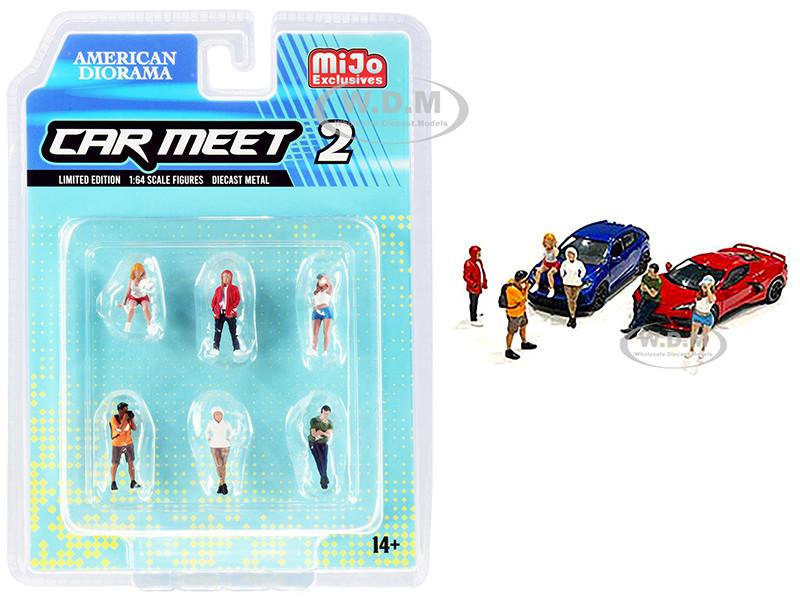 Car Meet 2 6 piece Diecast Figurine Set 1/64 Scale Models American Diorama 76471