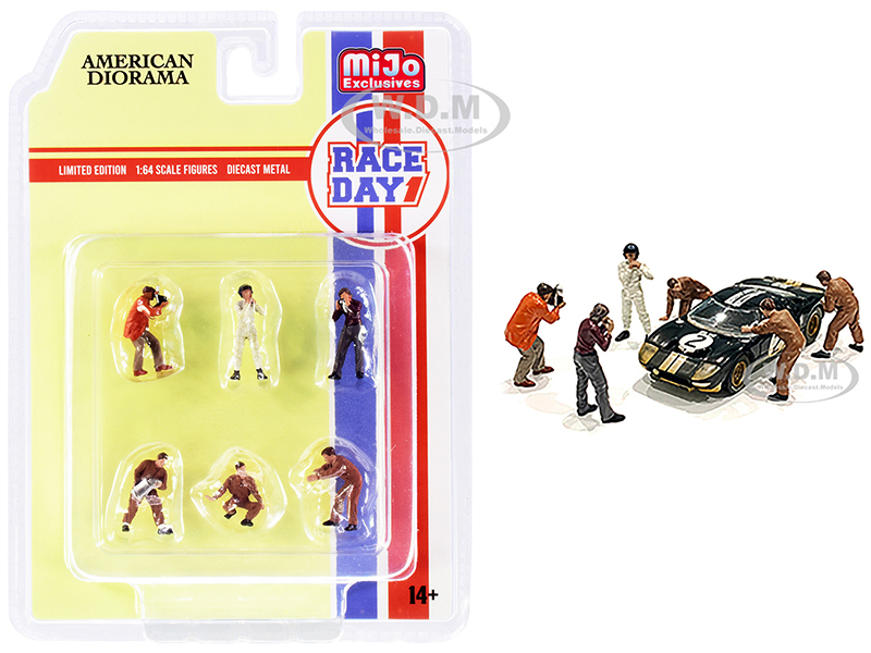 Race Day 1 6 piece Diecast Figurine Set 1/64 Scale Models American Diorama 76475