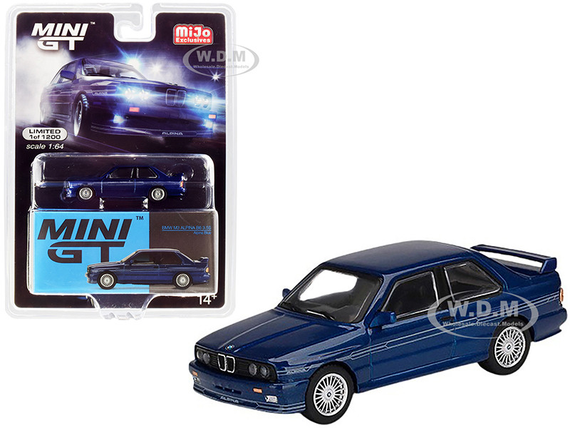BMW M3 E30 Alpina B6 3.5S Alpina Blue Limited Edition 1200 pieces Worldwide 1/64 Diecast Model Car True Scale Miniatures MGT00120